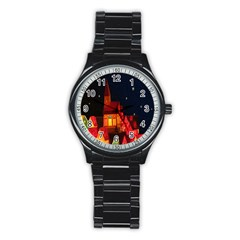 Market Christmas Light Stainless Steel Round Watch