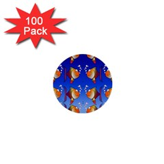 Illustration Fish Pattern 1  Mini Buttons (100 pack)