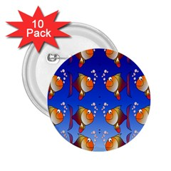 Illustration Fish Pattern 2.25  Buttons (10 pack)