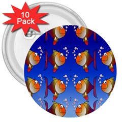Illustration Fish Pattern 3  Buttons (10 pack)