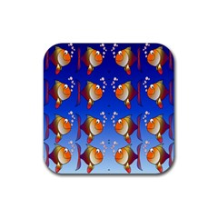 Illustration Fish Pattern Rubber Square Coaster (4 Pack)