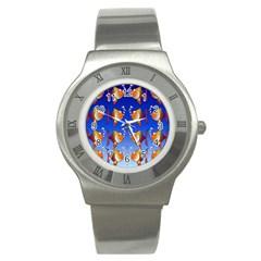 Illustration Fish Pattern Stainless Steel Watch