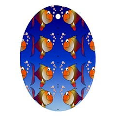 Illustration Fish Pattern Oval Ornament (Two Sides)