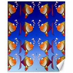 Illustration Fish Pattern Canvas 16  x 20