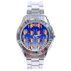 Illustration Fish Pattern Stainless Steel Analogue Watch