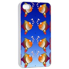 Illustration Fish Pattern Apple iPhone 4/4s Seamless Case (White)