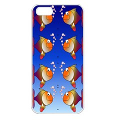 Illustration Fish Pattern Apple Iphone 5 Seamless Case (white)