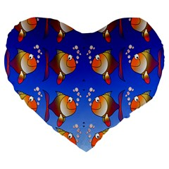 Illustration Fish Pattern Large 19  Premium Heart Shape Cushions