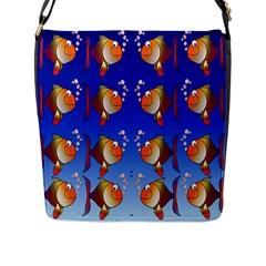 Illustration Fish Pattern Flap Messenger Bag (l)