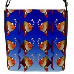 Illustration Fish Pattern Flap Messenger Bag (s)