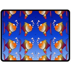 Illustration Fish Pattern Double Sided Fleece Blanket (large)