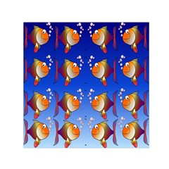 Illustration Fish Pattern Small Satin Scarf (Square)