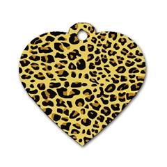 Jaguar Fur Dog Tag Heart (One Side)