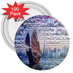 Hong Kong Travel 3  Buttons (100 pack)