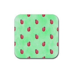 Ladybug Pattern Rubber Square Coaster (4 pack)