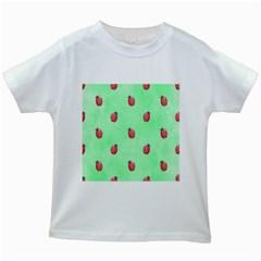 Ladybug Pattern Kids White T Shirts