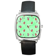 Ladybug Pattern Square Metal Watch