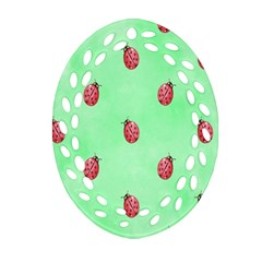 Ladybug Pattern Oval Filigree Ornament (two Sides)