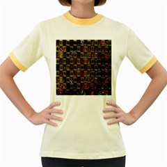 Kaleidoscope Pattern Abstract Art Women s Fitted Ringer T Shirts