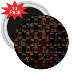 Kaleidoscope Pattern Abstract Art 3  Magnets (10 pack)