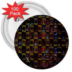 Kaleidoscope Pattern Abstract Art 3  Buttons (100 pack)