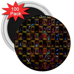 Kaleidoscope Pattern Abstract Art 3  Magnets (100 pack)