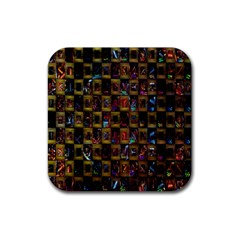 Kaleidoscope Pattern Abstract Art Rubber Square Coaster (4 pack)