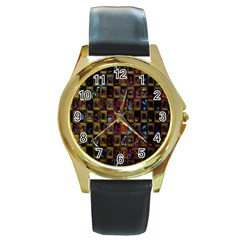 Kaleidoscope Pattern Abstract Art Round Gold Metal Watch