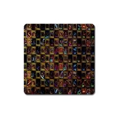 Kaleidoscope Pattern Abstract Art Square Magnet