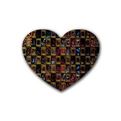 Kaleidoscope Pattern Abstract Art Rubber Coaster (Heart)