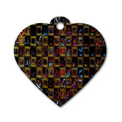 Kaleidoscope Pattern Abstract Art Dog Tag Heart (One Side)