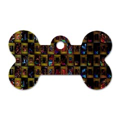 Kaleidoscope Pattern Abstract Art Dog Tag Bone (One Side)