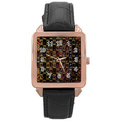 Kaleidoscope Pattern Abstract Art Rose Gold Leather Watch