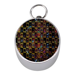 Kaleidoscope Pattern Abstract Art Mini Silver Compasses