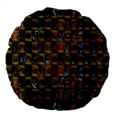 Kaleidoscope Pattern Abstract Art Large 18  Premium Flano Round Cushions