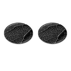 Leaf Pattern  B&w Cufflinks (Oval)