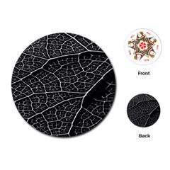 Leaf Pattern  B&w Playing Cards (round)