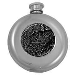 Leaf Pattern  B&w Round Hip Flask (5 oz)