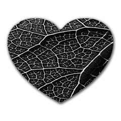 Leaf Pattern  B&w Heart Mousepads