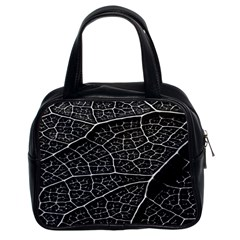 Leaf Pattern  B&w Classic Handbags (2 Sides)