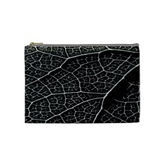 Leaf Pattern  B&w Cosmetic Bag (Medium)
