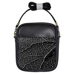 Leaf Pattern  B&w Girls Sling Bags