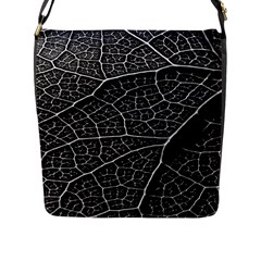 Leaf Pattern  B&w Flap Messenger Bag (l)