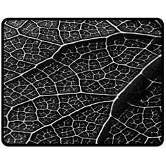 Leaf Pattern  B&w Double Sided Fleece Blanket (Medium)