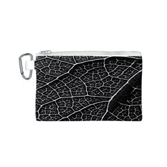 Leaf Pattern  B&w Canvas Cosmetic Bag (S)