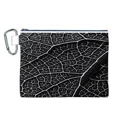 Leaf Pattern  B&w Canvas Cosmetic Bag (L)