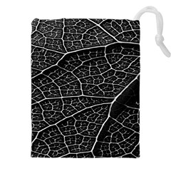 Leaf Pattern  B&w Drawstring Pouches (XXL)