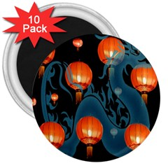 Lampion 3  Magnets (10 pack)