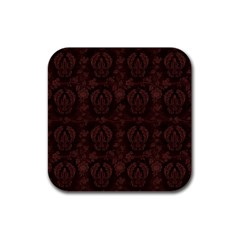 Leaf Pattern Green Wallpaper Tea Leather Rubber Coaster (Square)