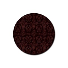 Leaf Pattern Green Wallpaper Tea Leather Rubber Round Coaster (4 pack)